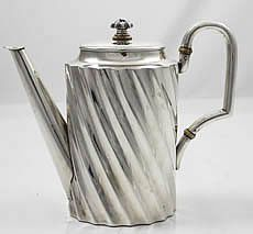 """An Austrian Art Deco 800 silver teapot with hinged lid circa 1920. Diana head marks. Height 7 1/2"""" to top of the handle. Weight 17.5 oz troy."""