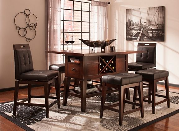 Danfield Counter Height Dining Table W Wine Storage Dining Sets Raymour And Flanigan Furniture Mattresses Counter Height Dining Sets Counter Height Dining Table Dining Storage