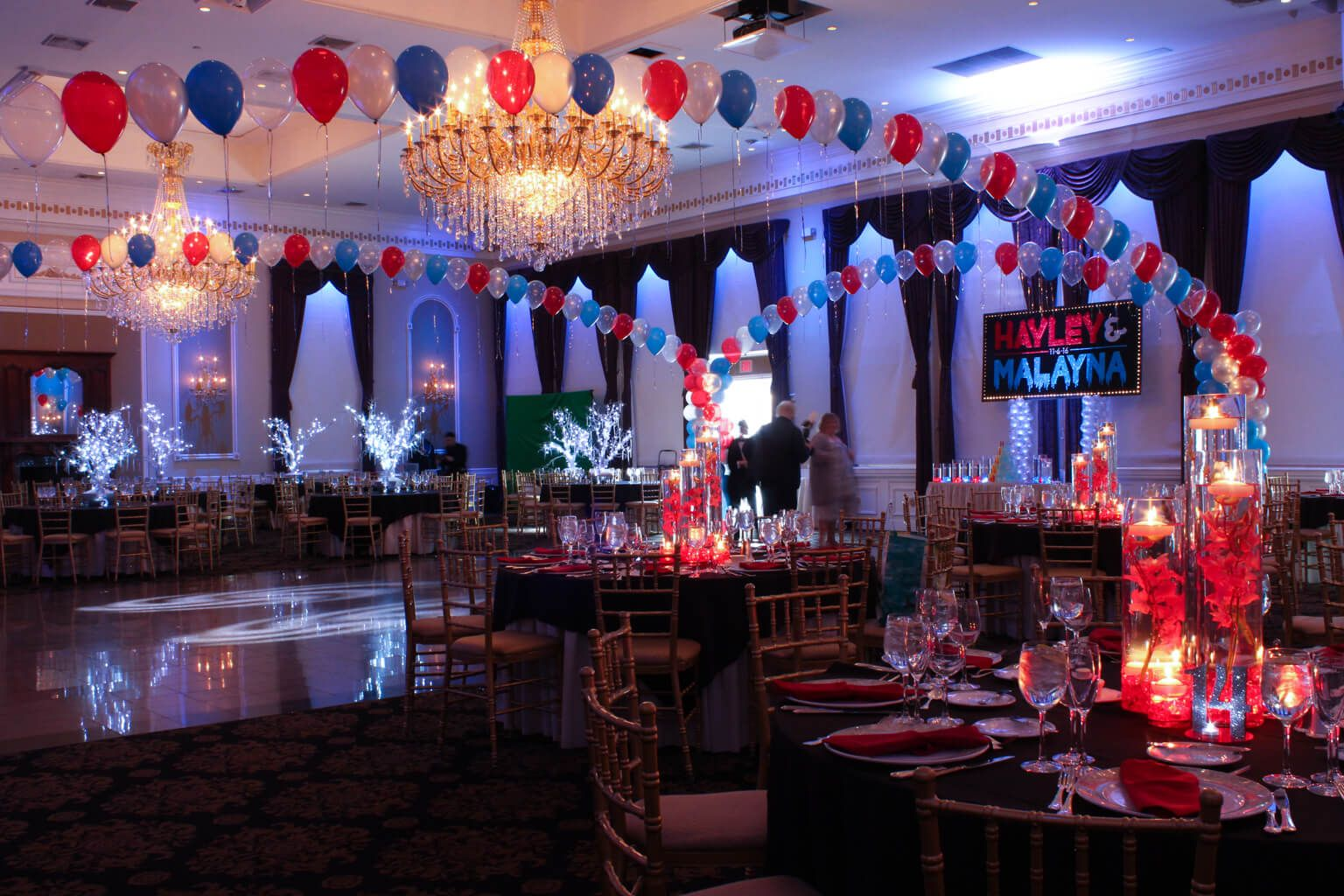 Wedding stage decoration with balloons  Red u Blue Balloon Gazebo with Lights for Fire u Ice Themed Bunai