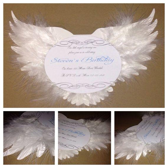Angel Birthday Invitation Christening Invitation by AmiraDesign