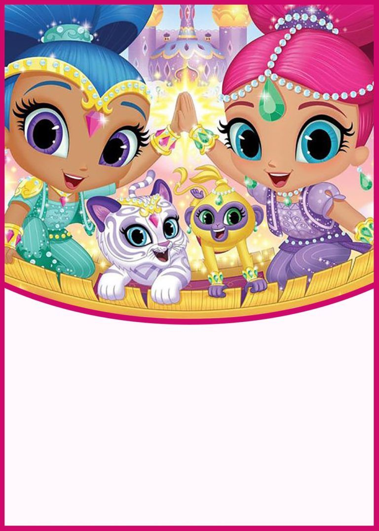 shimmer and shine party invitation card