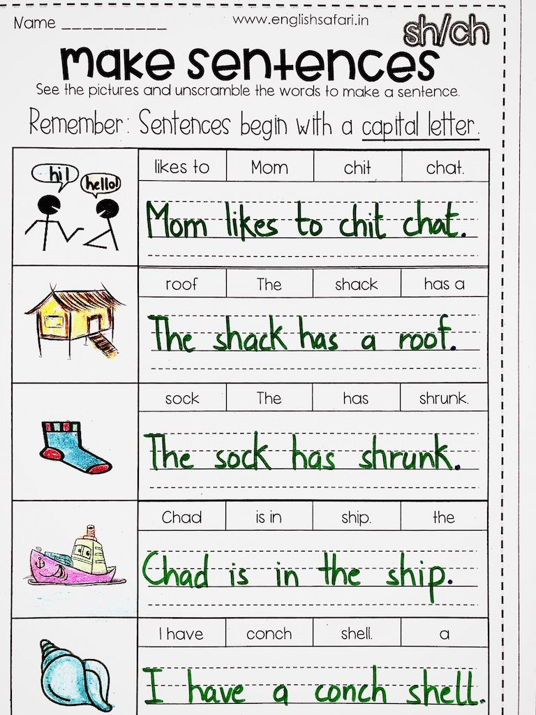 small resolution of FREE** DIGRAPH sh ch sentences   Sentence writing activities