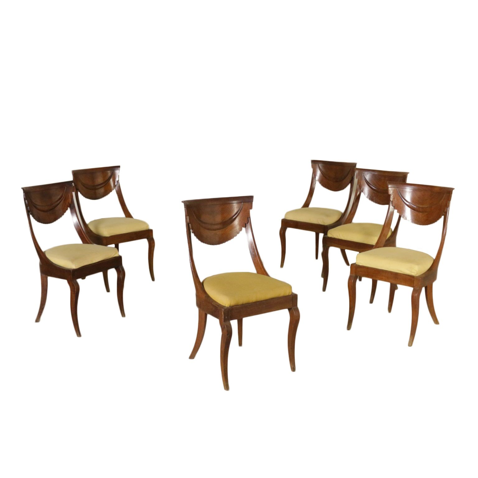 Antiquitaten Set Of Six Gondola Chairs Italy Second Quarter Of 1800 Chaises Antiques Chaise Canape Chesterfield