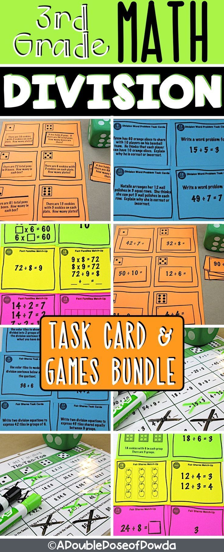 Basic Division Centers & Games Bundle Elementary math
