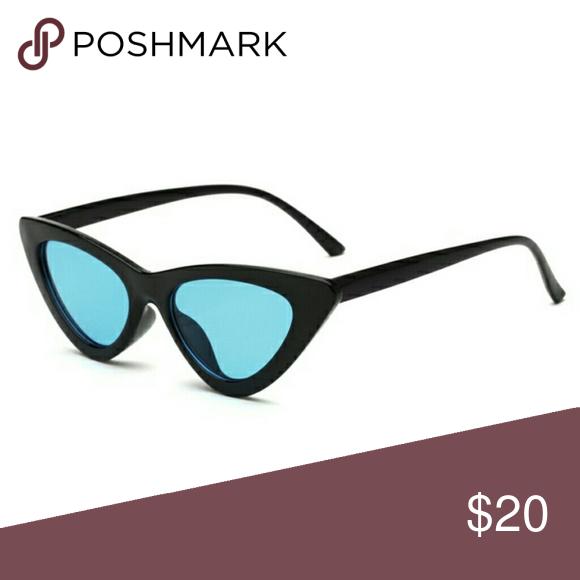 Black Cateye Sunglasses W Blue Lens Nwt Nwt With Images Cat Eye Sunglasses Blue Lenses Sunglasses Accessories