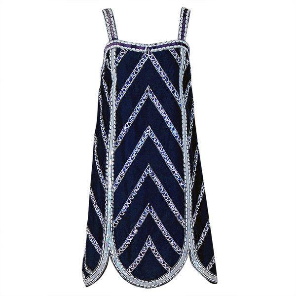 1960s Mr. Blackwell Navy-Blue Beaded Silk Flapper Mini Dress found on Polyvore