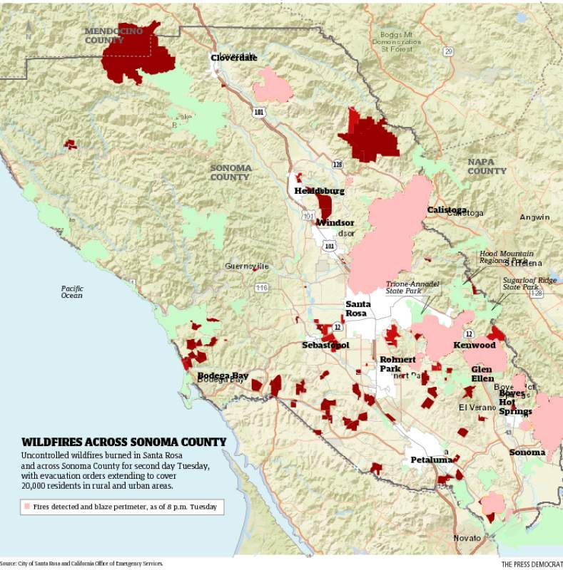 As winds return fire threatens large swath of Santa Rosa surrounds