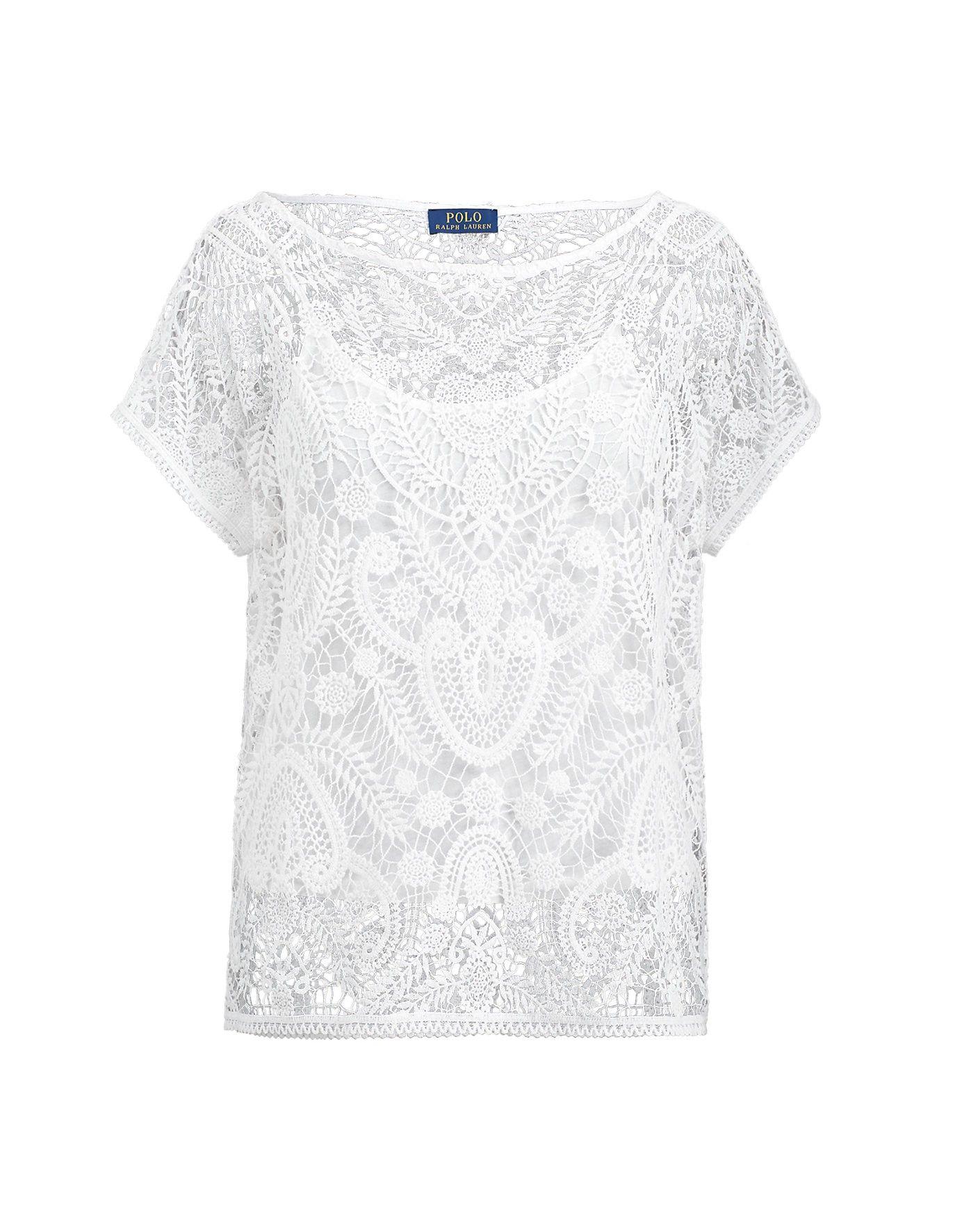 Polo Ralph Lauren Lace Short Sleeve Shirt In White Modesens White Lace Shirt Lace Shirt Sweaters For Women
