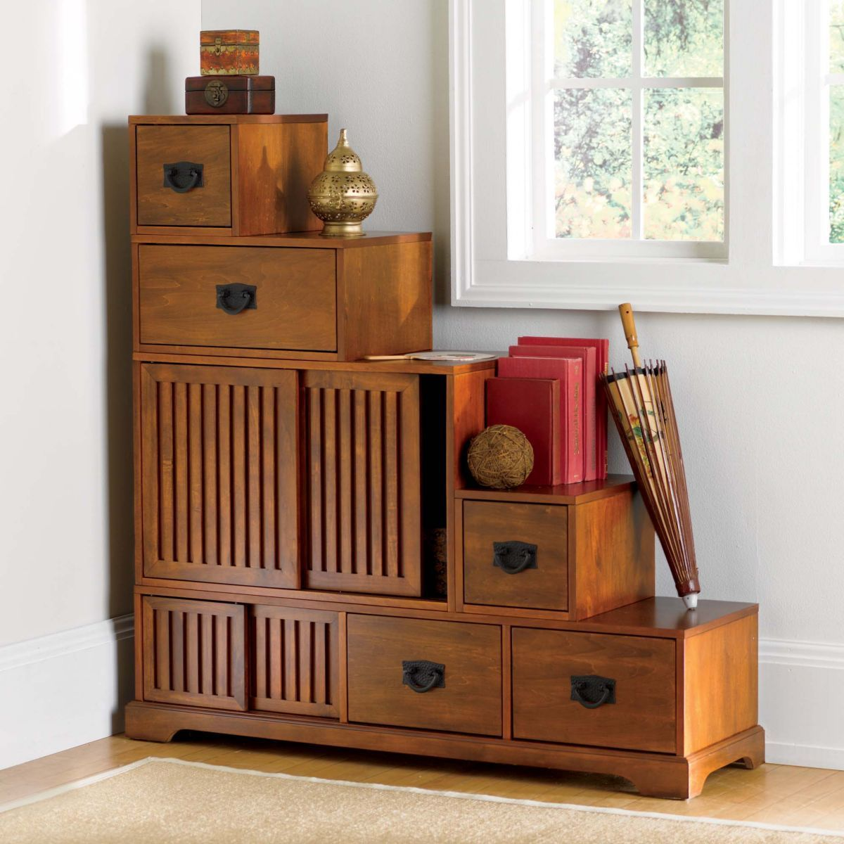 27 Really Cool Space Saving Staircase Designs: Stafford Reversible Tansu Step Chest