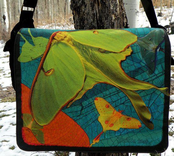 Laptop Bag  LUNA MOTHS Chartreuse  Messenger Bag  by floorartetc, $75.00