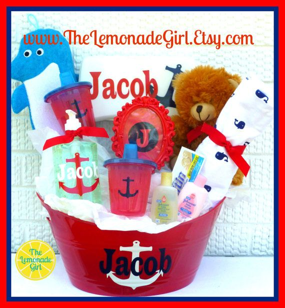 Personalized baby basket nautical baby personalized nautical personalized baby basket nautical baby personalized nautical baby gift boy girl basket baby negle Images