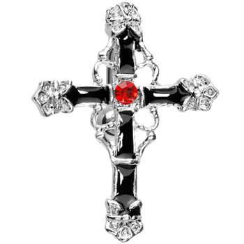 $11.99 Top Drop Ruby Red Gem Embellished Cross Belly Ring