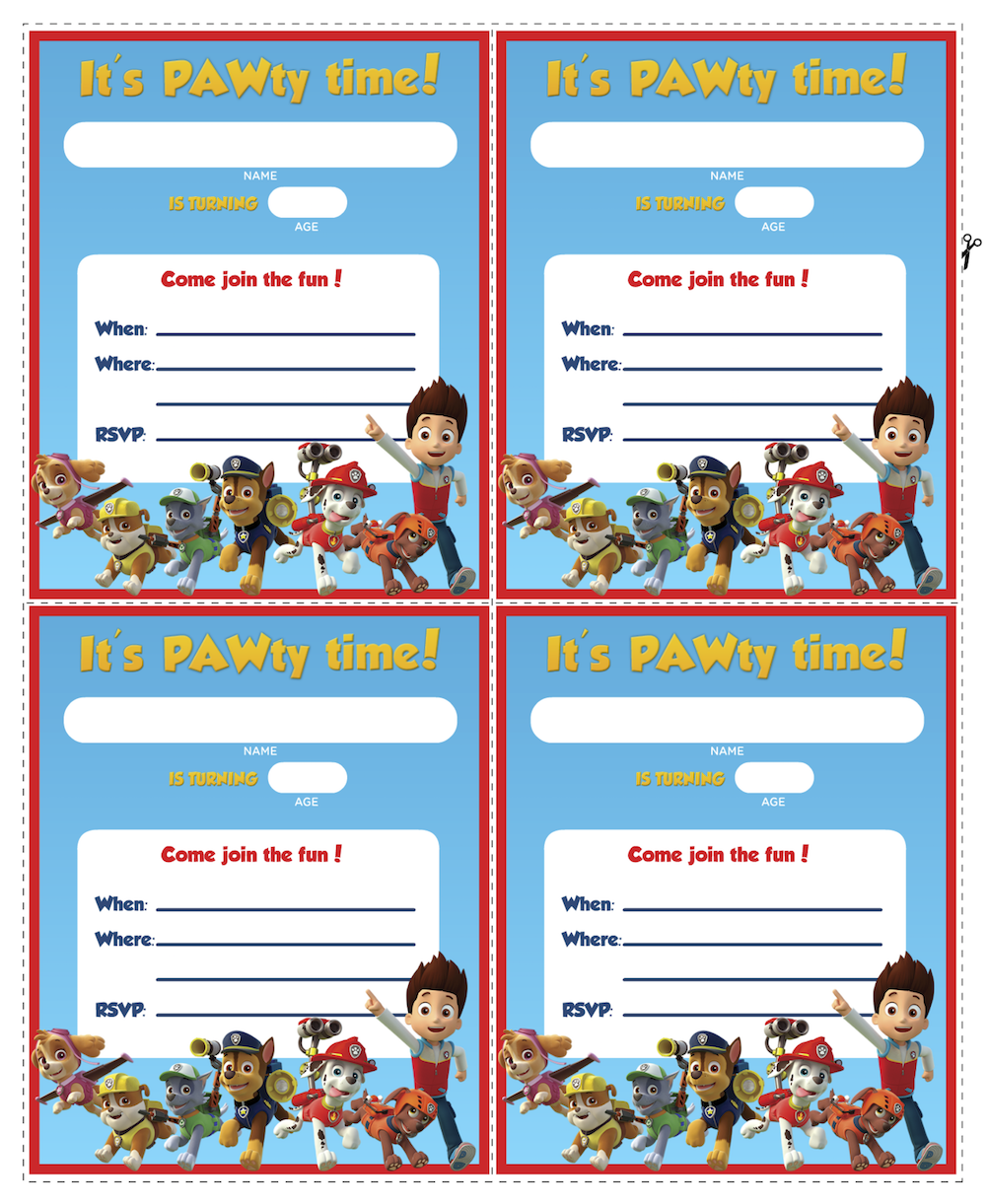 Paw patrol birthday get ready for a pawtastic party with these free printables and party ideas for Printable paw patrol invitations