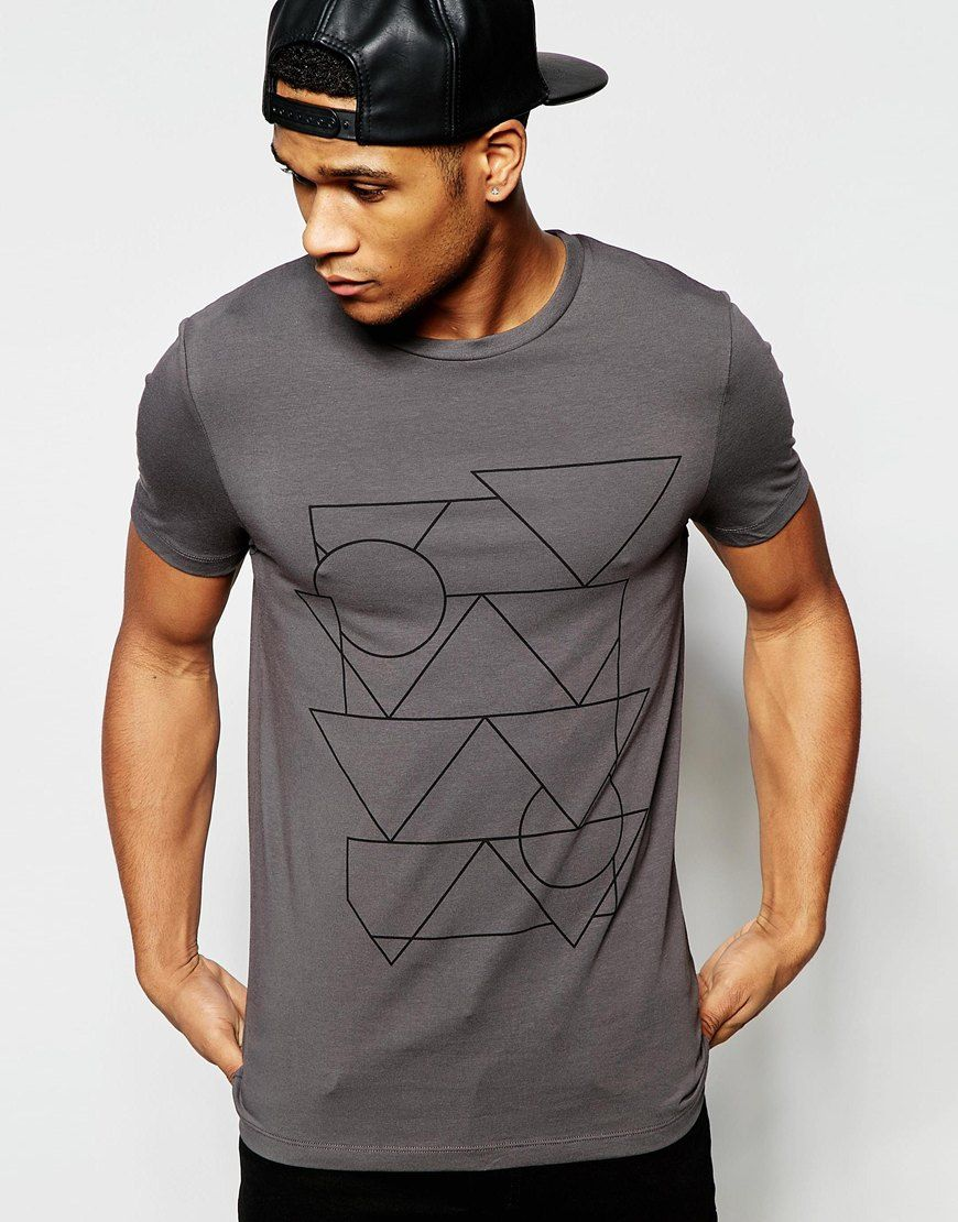 ASOS Muscle T-Shirt With Linear Print In Grey