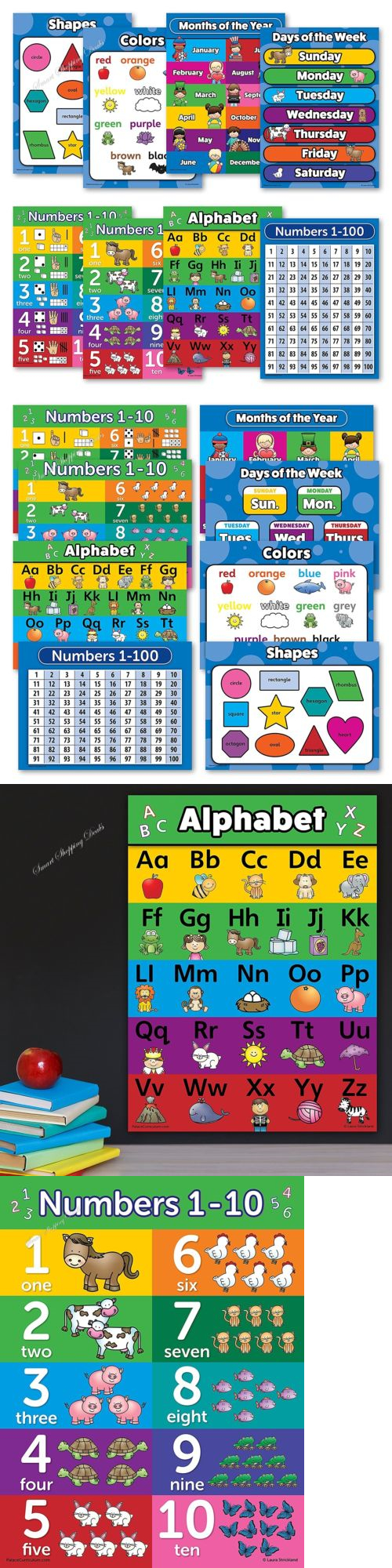 Preschool and Kindergarten 102948: 8 Educational Wall Posters For ...