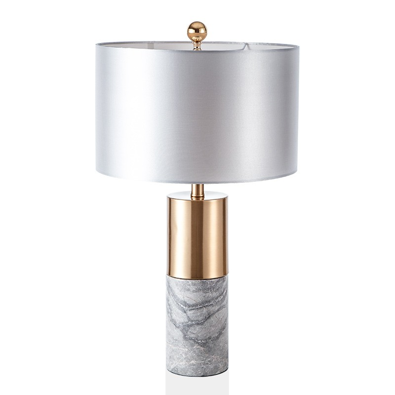 Designer Modern American Minimalist Gray Cylindrical Marble Metal Creative Table Lamp For Living Room Bedroom Bedside Simig Bedside Lamp Modern Table Lamp Lamps Living Room