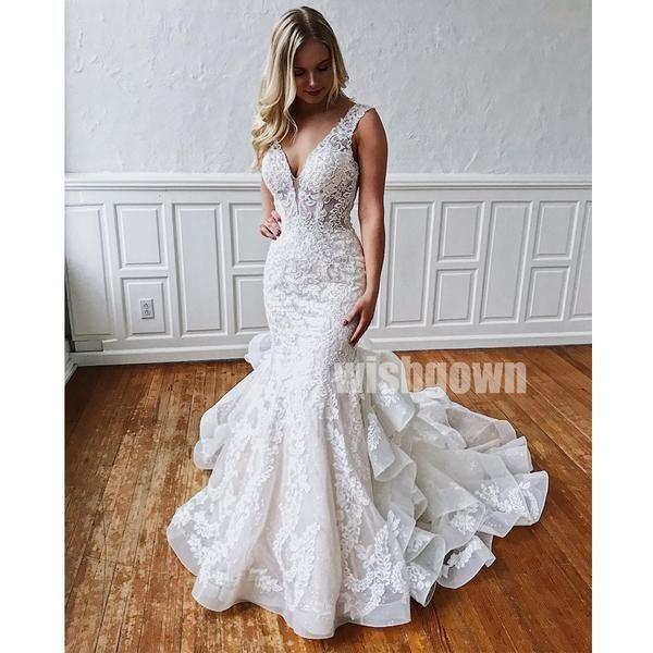 Lace Mermaid Open Back Long Wedding Dresses YH1111