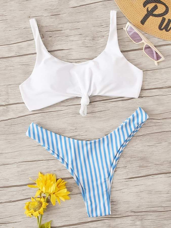 d5da25bbb9 Shein Knot Front Top With Striped Bikini Set in 2019 | Products ...