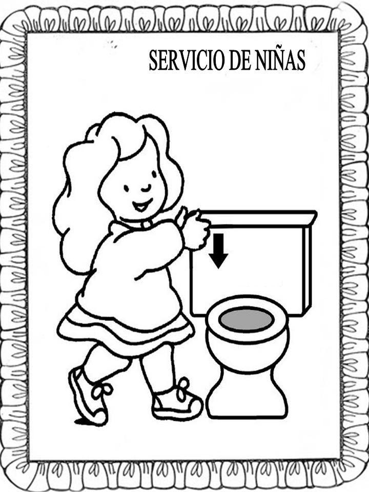 Material educativo para maestros: Carteles baños para colorear ...