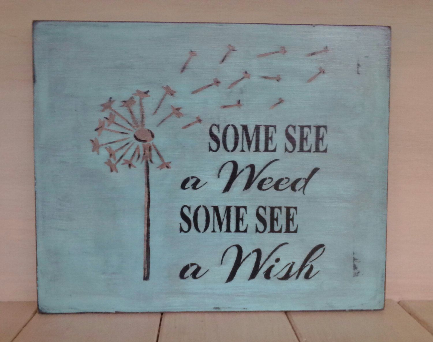 Beautiful wooden dandelion sign antiqued teal blue shabby