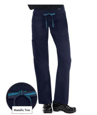 Koi Scrubs Limited Edition Morgan Knit Waist Cargo Pant In Navy With