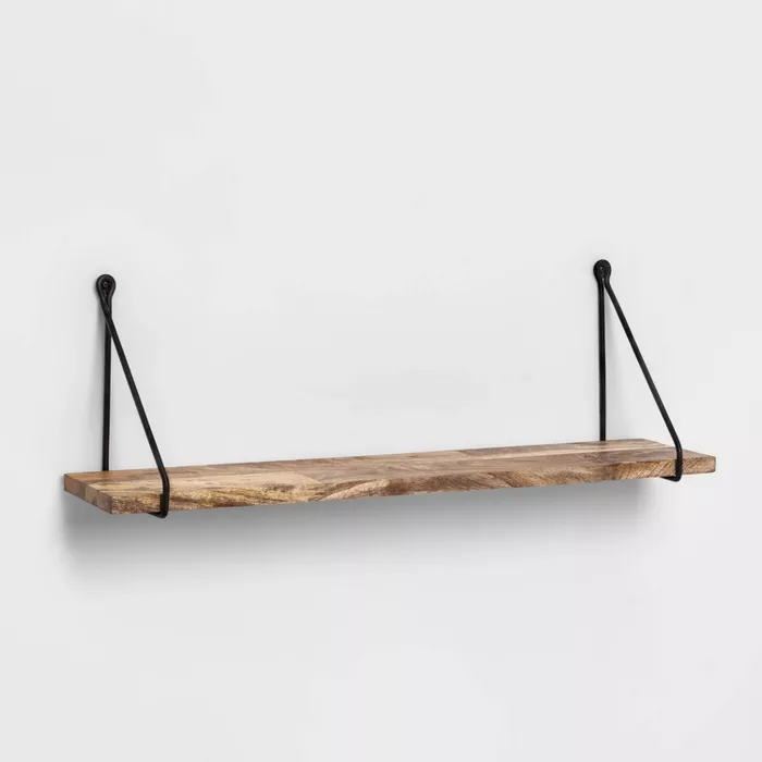 Wood Wall Shelf With Hanging Wire Natural Black Threshold In 2020 Wood Wall Shelf Wall Shelves Diy Hanging Shelves