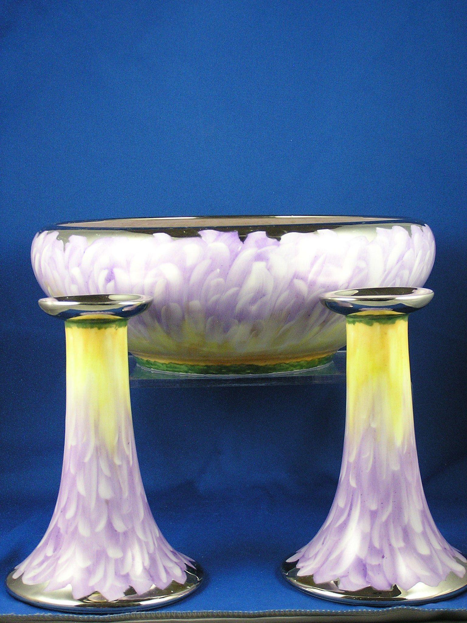 "MZ Altrohlau Czechoslovakia Arts & Crafts Centerpiece Bowl & Candlestick Set (Signed ""Jorgenson""/c.1918-1936)"