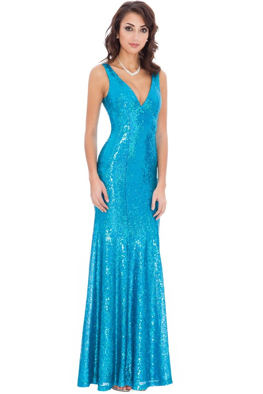 Sequined Low V Neck Maxi Dress - Turquoise | Possibilities ...