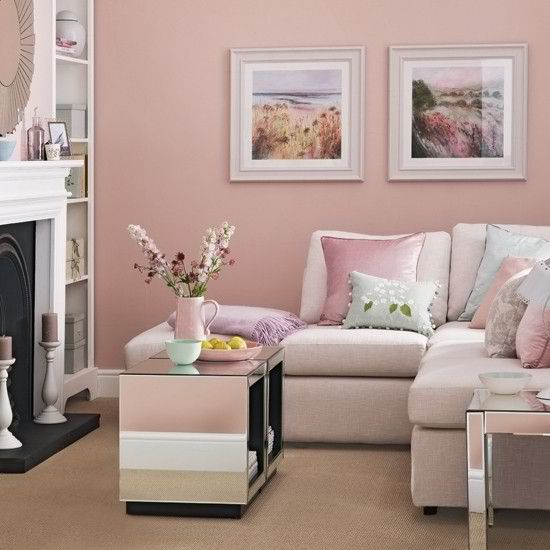 Candy floss pink living room. Would look cute in a mocha type color ...