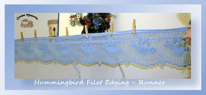 Hummingbird Filet Edging-Runner, free crochet pattern by Crochet Memories Blog