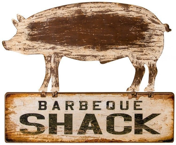Barbeque shack pig hog sign bbq restaurant rustic vintage