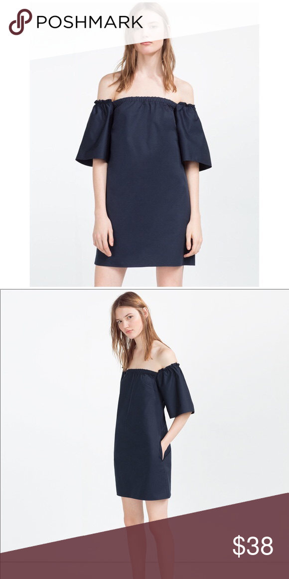 31f3f1cabf0792 Zara off the shoulder shift dress size Medium Zara off the shoulder dress  in navy blue Size medium Trafaluc Collection With pockets! Only worn a few  times