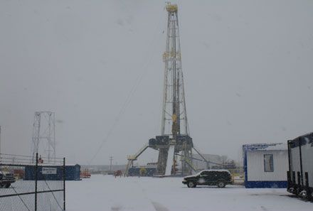 Snow at a drilling rig near Odessa, Texas Jan. 9, 2012