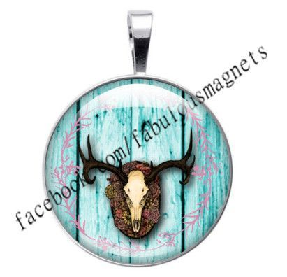 """Boho Bohemian Chic Antlers Skull Wood Background 1"""" Round Magnetic Pendant Interchangeable Includes Magnet and Pendant"""