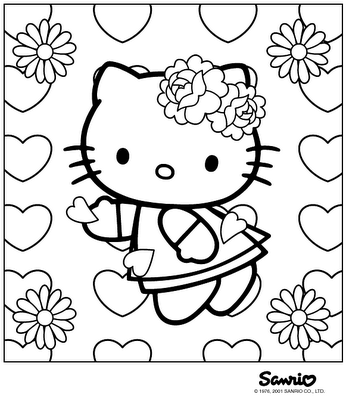 Pin By Vanessa Upward On Cake Decorating Clip Art Hello Kitty Colouring Pages Hello Kitty Coloring Valentines Day Coloring Page