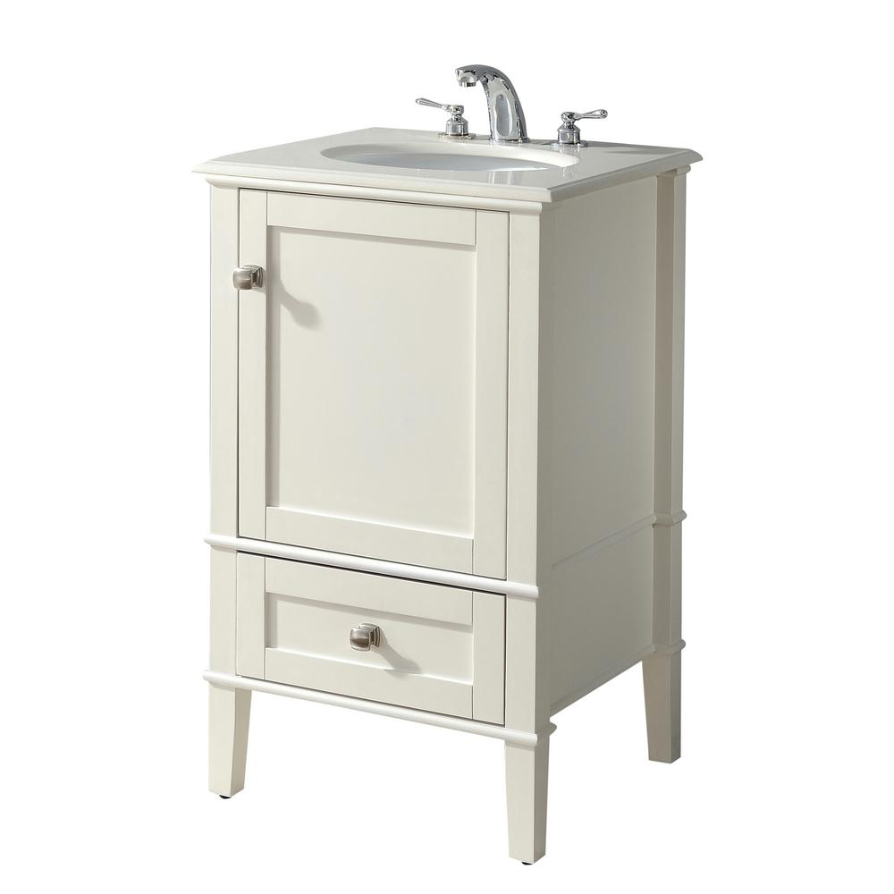 Simpli Home Chelsea 20 In Bath Vanity With Quartz Marble Vanity Top In White With White Basin Products Bath Vanities Bathroom Sink Vanity Single Bathroo
