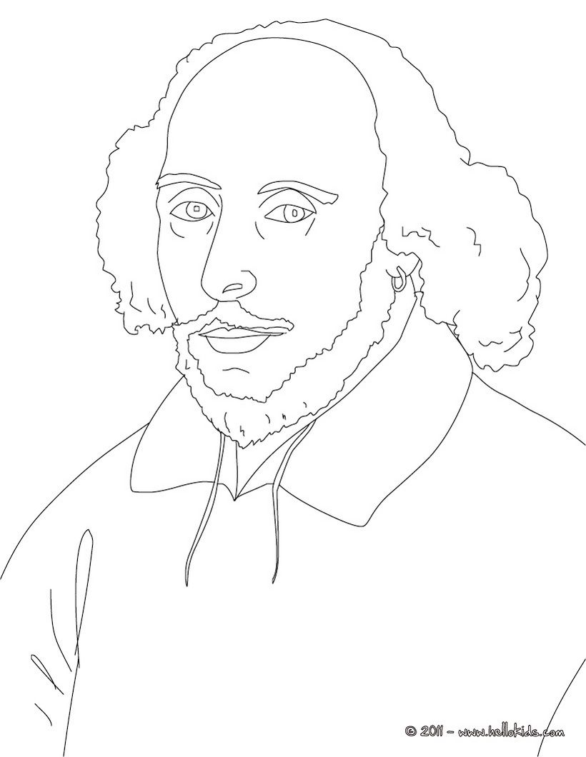 William Shakespeare Coloring Page Coloring Pages People