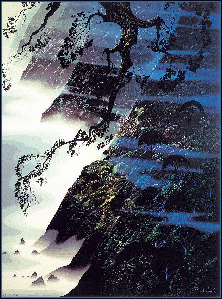 Eyvind Earle http://uploads4.wikipaintings.org/images/eyvind-earle/sea-wind-and-fog-1988.jpg