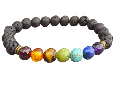 Lava Rock Bracelet With Chakra Stones