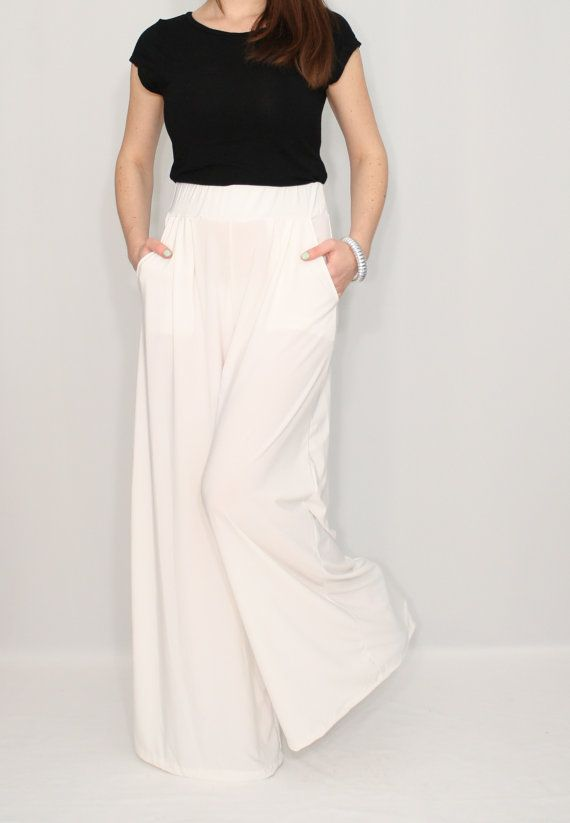 Women pants Wide leg pants Ivory pants with pockets Off white ...