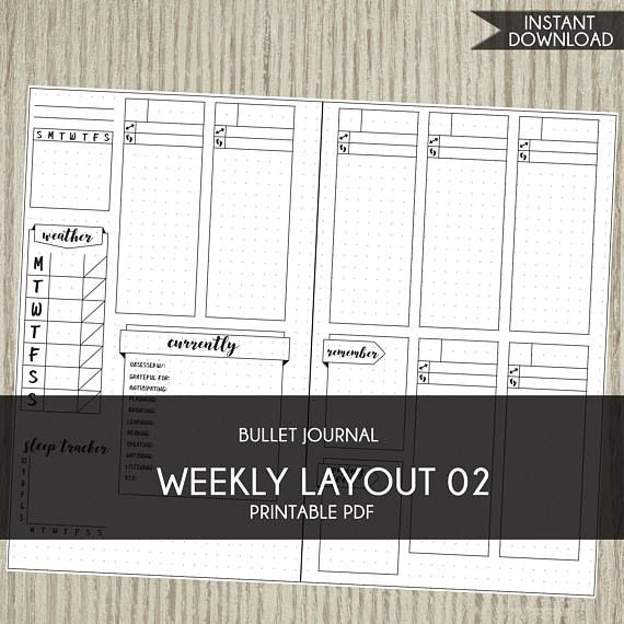 Bullet Journal template printable planner weekly layout bujo - agenda download free