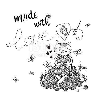 Vector card knitting theme with cute cat and lettering