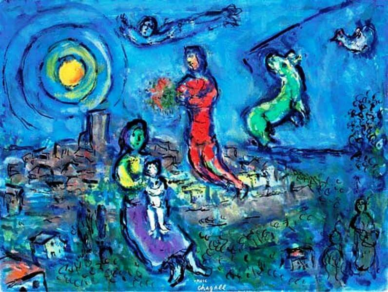 Marc Chagall - Le couple dans le paysage bleu, 1969-71. Oil and India ink on…
