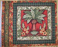 A SUSAN WINGET WELCOME GARDEN PINEAPPLE COTTON QUILTING FABRIC PANEL