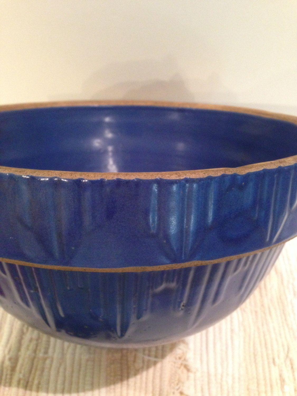 Vintage Blue Crock Stoneware Bowl,Yellow ware,Farmhouse ...