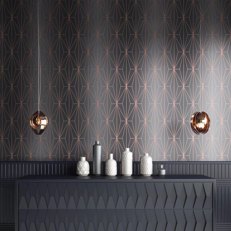 Muriva Kayla Geometric Striped Charcoal Rose Gold Foil Metallic Wallpaper Speciall Geometric Wallpaper Grey Geometric Wallpaper Geometric Wallpaper Rose Gold