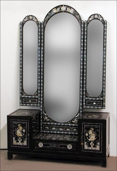 Wondrous 981160 Black Lacquered Mirrored Vanity On Antique Cjindustries Chair Design For Home Cjindustriesco