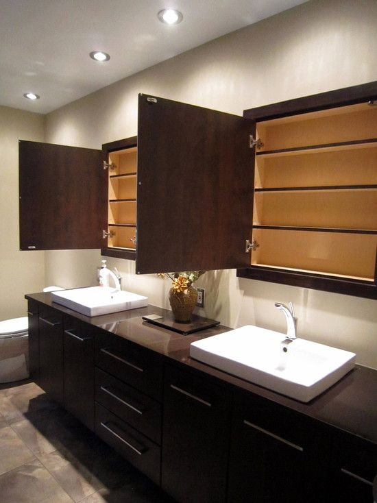 Exceptionnel Custom And Built In Medicine Cabinet With Handsome High Definition Photo:  Contemporary Luxury Master Bathroom With Custom Recessed Cabinets With  Mirrors And ...