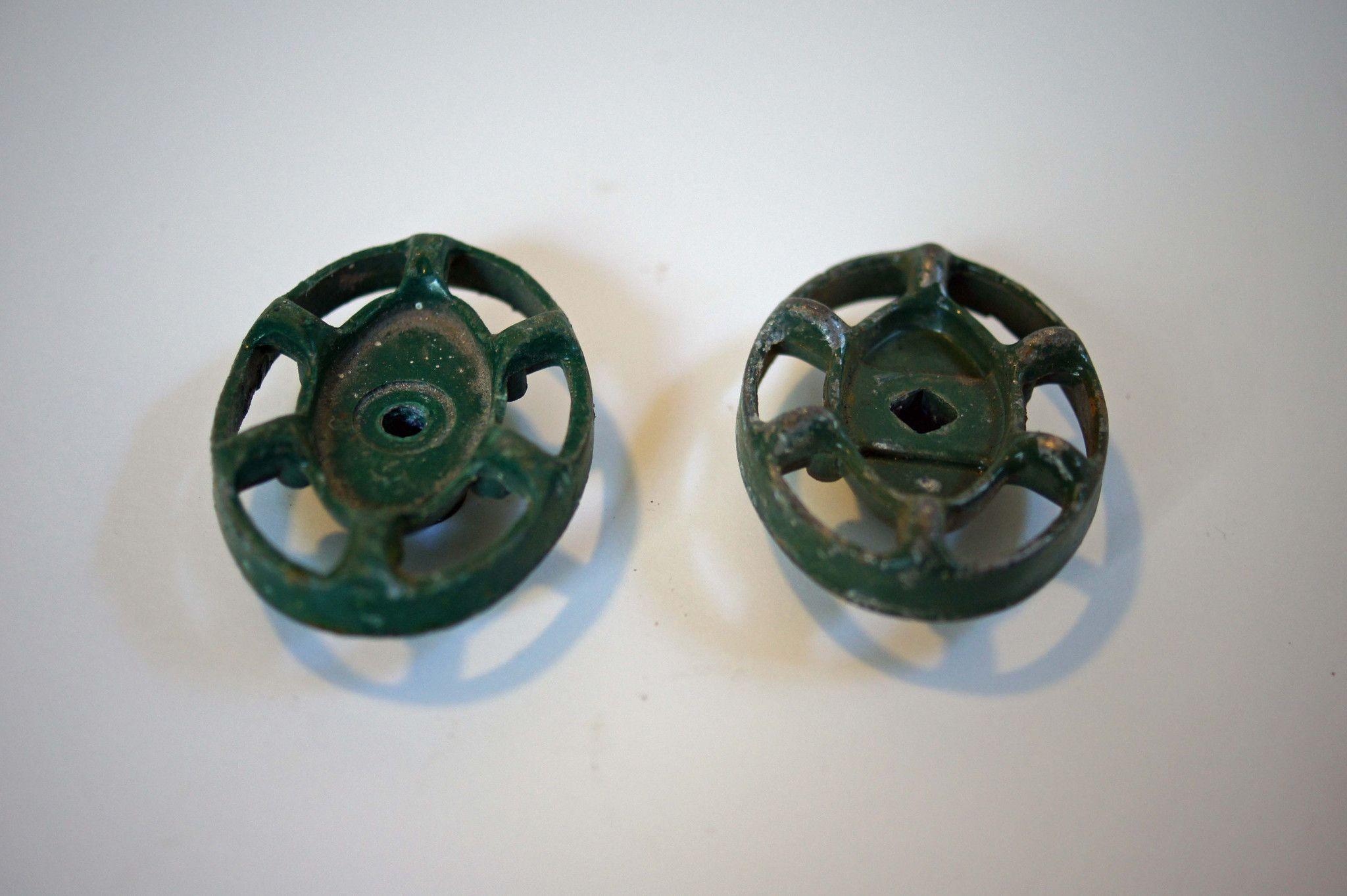 Vintage Green Metal Faucet Knobs - Set of 2