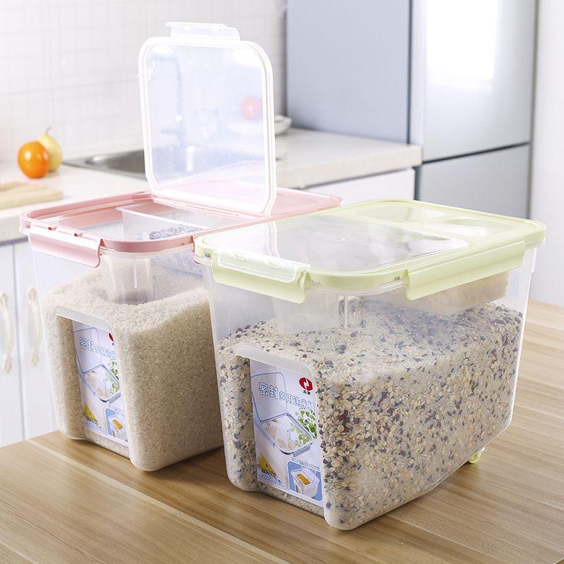 High Quality E SHOW 1pcs 10kg Large Capacity Kitchen Food Storage Boxes Bean Rice Grain  Storage Container